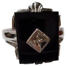 Vintage 10 K Black Onyx and Diamond Ring