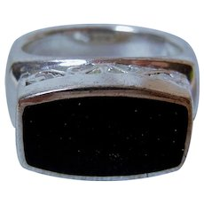 Vintage Sterling Silver and Black Onyx Ring