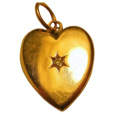 Vintage Fine Gold Locket with Rose Cut Diamond