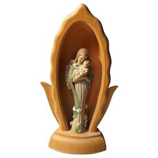 vintage Hand Carved and Sculpted Madonna and Child by Anri