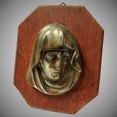Vintage Brass Madonna Mounted on Wood