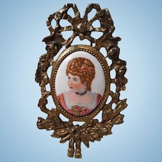 Vintage Miniature Brass Framed Portrait