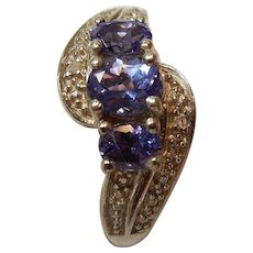 Vintage Sterling Silver and Tanzanite Ring