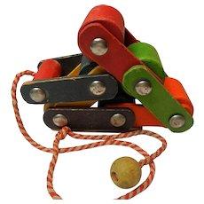 Vintage Playskool Wooden Hinged Pull Toy