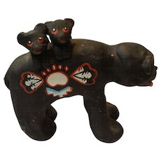 Native American Pottery Black Bear with Cubs, Story teller, Signed