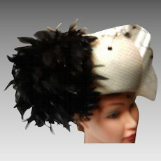 Vintage Winter White Wool Felt Hat with Black Feathers and Veil