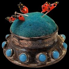 Vintage 800 Silver Pincushion with Lady Bug Pins