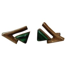 Vintage Sterling and Malachite Earrings