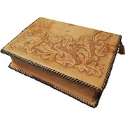 Vintage 1917  Bible with Hand Tooled Leather Cover