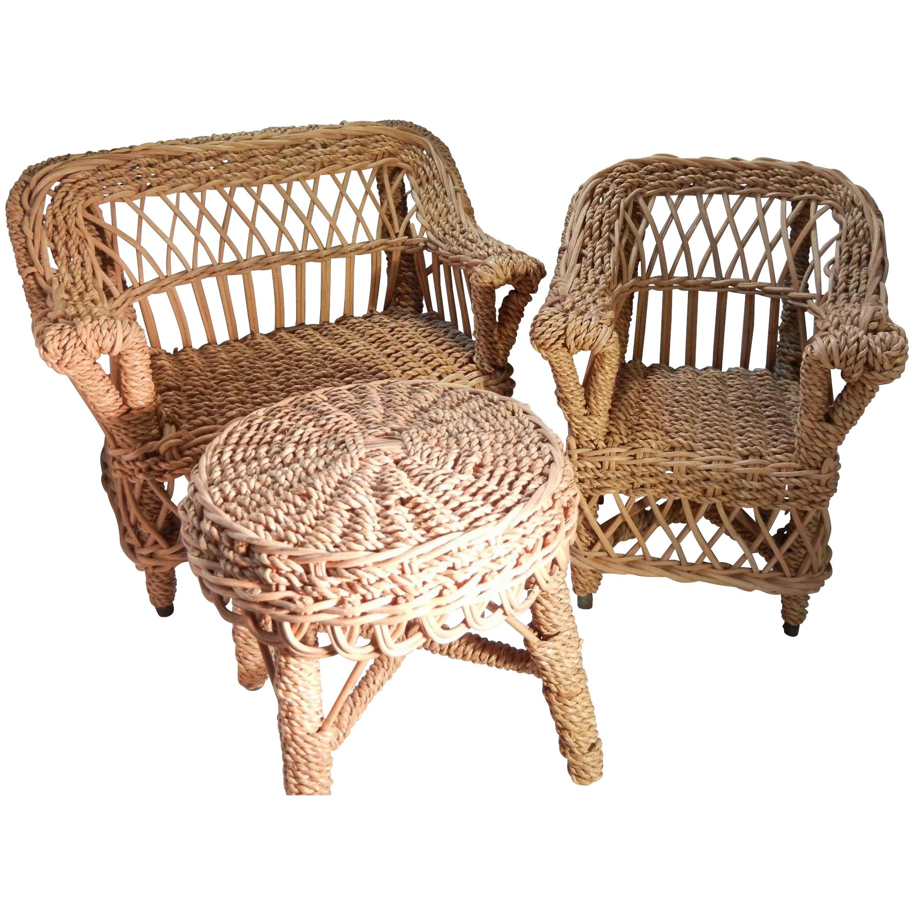 Vintage Wicker Doll House Furniture