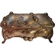 Vintage Hinged Metal Treasure, Jewelry Box,Casket