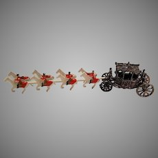 Vintage Lead Horse and Carriage