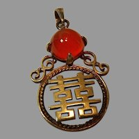 Vintage Sterling and Carnelian Pendant