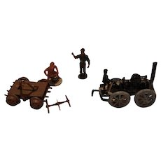 Vintage Cast Lead Farm Tractor and Figures