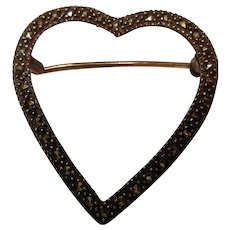 Vintage Sterling and Marcasite Heart Brooch