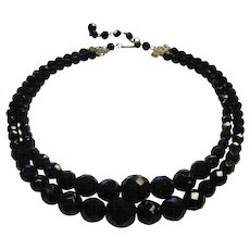 Vintage Faceted Black Glass Choker Bead Necklace