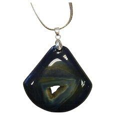 Natural Blue Agate Pendant w/ Druzy