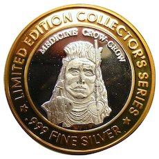 Limited Edition .999 Fine Silver Bad River Lodge Coin - Medicine Crow-Crow