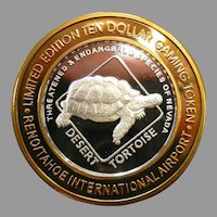 Limited Edition .999 Fine Silver Ten Dollar Gaming Token Reno/Tahoe International Airport - Desert Tortoise