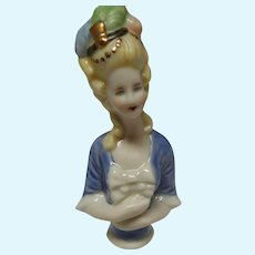 Antique All Bisque Half Doll with Plumed Hat