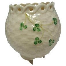 Vintage Belleek Pot in Basket Weave and Shamrock Pattern