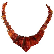 Vintage Baltic Amber Necklace with Graduated Polished Stones and Natural Beads