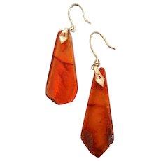 Vintage Baltic Amber Pierced Earrings