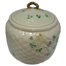 Vintage Irish Belleek Biscuit Jar