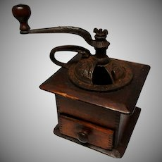 Vintage Cast Iron and Wood Coffee Grinder