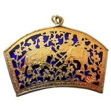 Vintage Cobalt and Gold Filigree Pendant