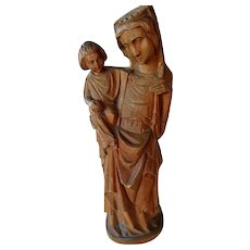 Vintage Hand Carved Wooden Madonna and Child