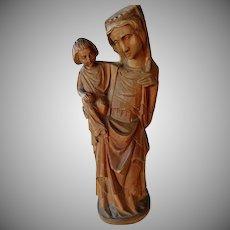 Vintage Hand Carved Wooden Madonna and Child
