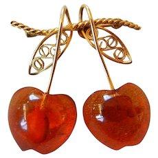 Vintage Natural Amber Brooch of Cherries