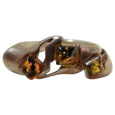Vintage Sterling and Natural Amber Ring