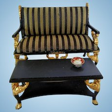 """Vintage """"Bespaq"""" Doll House Couch and Table"""