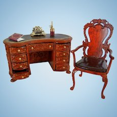 Vintage Bespaq Carved Wooden Desk and Chair