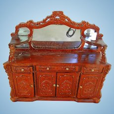 Vintage Doll House Carved Highboy with Glass Mirror
