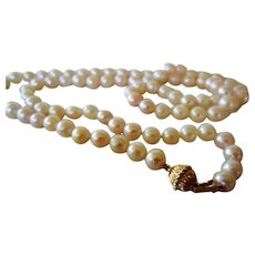 """Vintage 28"""" Pearl Necklace and 14 K Clasp"""