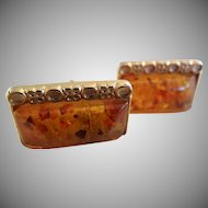 Vintage Natural Amber Cuff Links