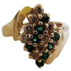 Vintage 14 K Diamond and Emerald Ring
