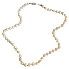 Vintage White Pearl Necklace with 14 K Clasp