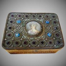 Vintage Gilded Signed Portrait Box
