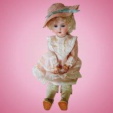"Antique 18"" Schoenau and Hoffmeister Flirty eyed Bisque Head Doll"