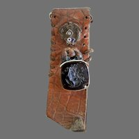 Vintage Enameled FOE Watch Fob with Diamond and Intaglio