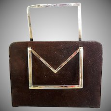 Vintage Brown Suede Handbag