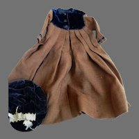 Antique Brown Wool and Velvet Coat Dress and Hat for Antique Bisque Doll