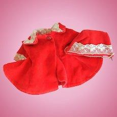 "Vintage Red Velvet 8"" ""Ginny"" Coat and Hat"