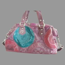 Vintage Leather and Fabric Coach Handbag