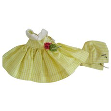 """Vintage Un-Tagged 8"""" Doll Dress and Hat"""