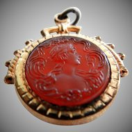 Antique Carnelian Intaglio Carved Cameo Watchfob
